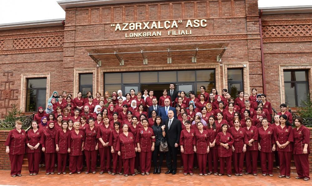 Президент Ильхам Алиев и Первая леди Мехрибан Алиева приняли участие в открытии Лянкяранского филиала ОАО «Азерхалча» (ФОТО) - Gallery Image