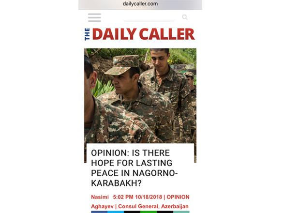 US newspaper publishes Consul General Nasimi Aghayev's article on Karabakh conflict - Gallery Image