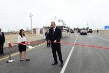Президент Ильхам Алиев принял участие в открытии части автодороги Мингячевир-Бахрамтепе (ФОТО) (версия 2) - Gallery Thumbnail