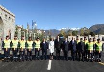 President Ilham Aliyev, First Lady Mehriban Aliyeva attend inauguration of Shaki-Kish highway (PHOTO) - Gallery Thumbnail
