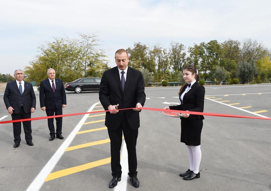 Azerbaijani president inaugurates highway in Aghdam (PHOTO)