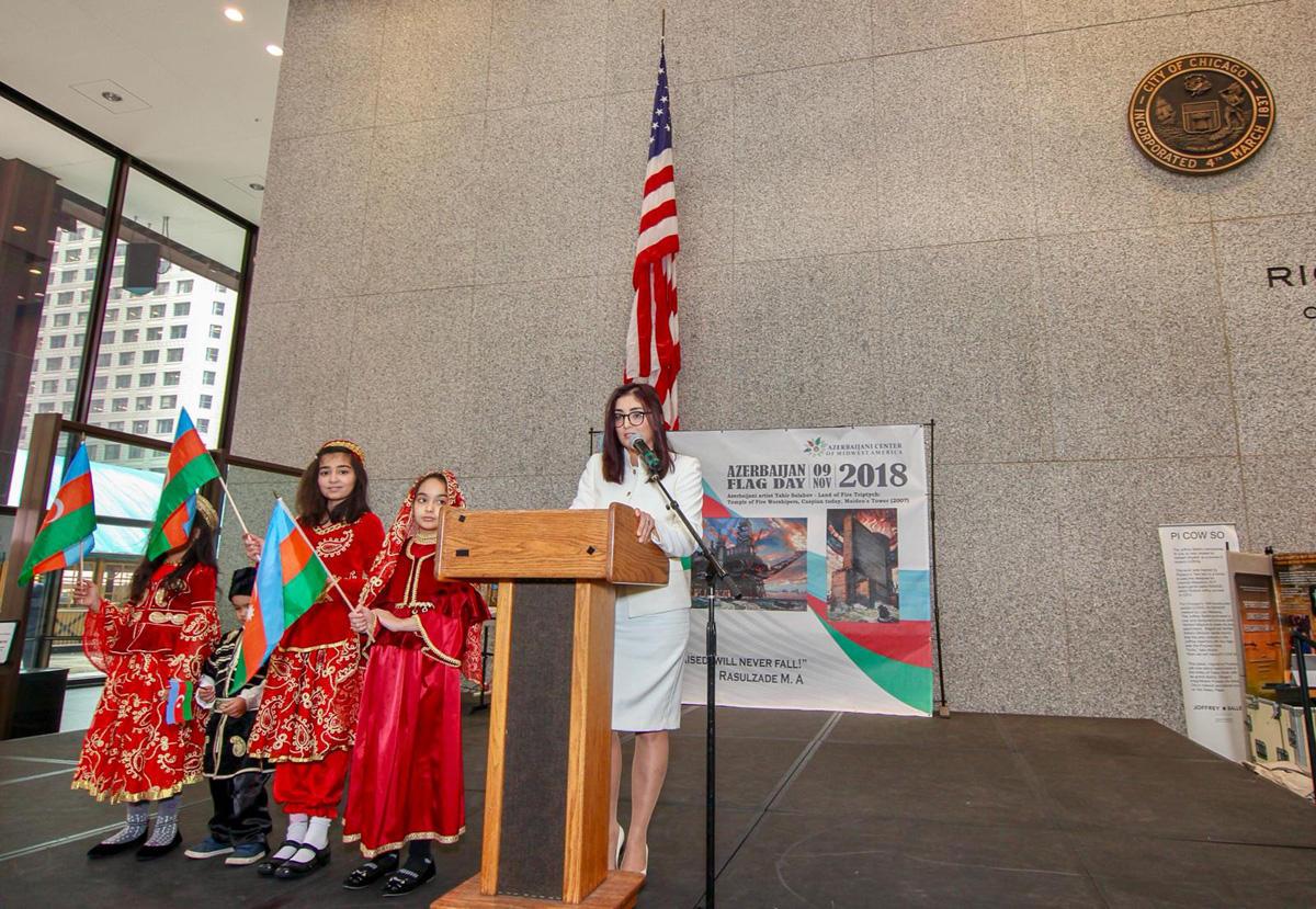 В Чикаго прошло мероприятие, посвященное Дню Государственного флага Азербайджана - Gallery Image
