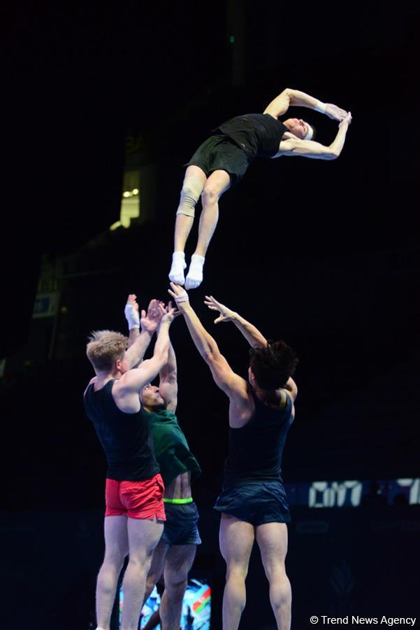 Bakıda akrobatika gimnastikası üzrə Dünya Kubokunda iştirak edəcək idmançıların podium məşqləri keçirilir (FOTO) - Gallery Image