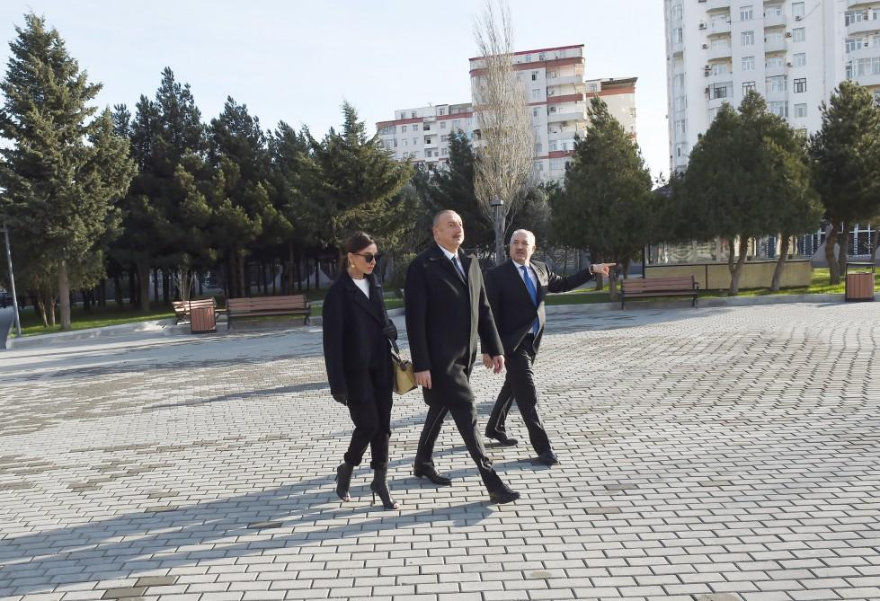 Azerbaijani president, first lady view newly-reconstructed recreation park in Baku (PHOTO) - Gallery Image