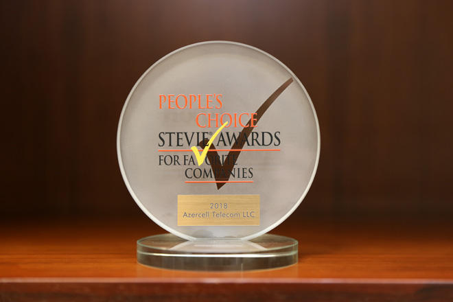 People's Choice Stevie Award names Azercell as Favorite Company of year in telecom