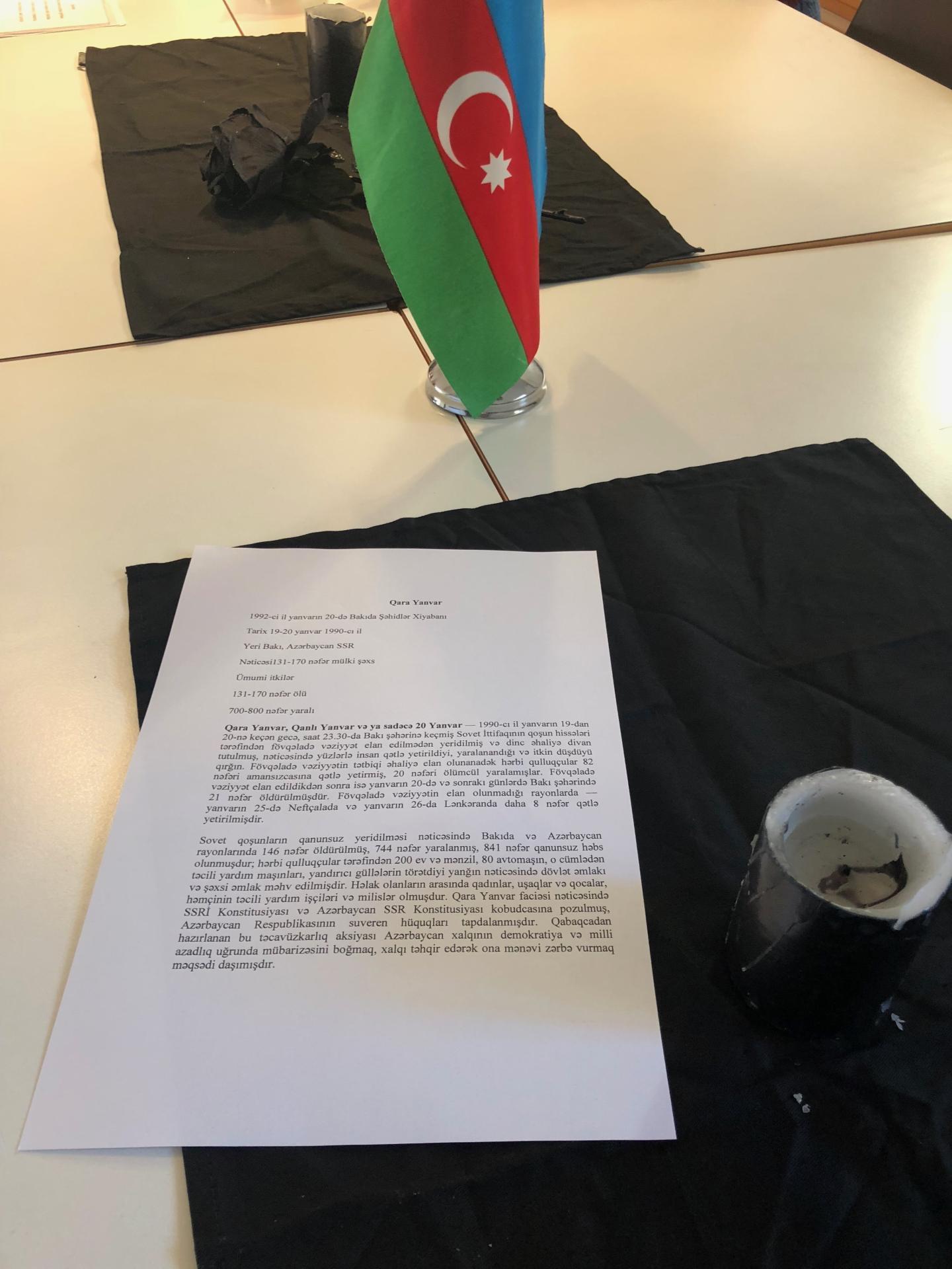 """Berndə fəaliyyət göstərən """"Qarabağ"""" Azərbaycan məktəbində 20 Yanvar faciəsinin 29-cu ildönümü yad edilib (FOTO) - Gallery Image"""