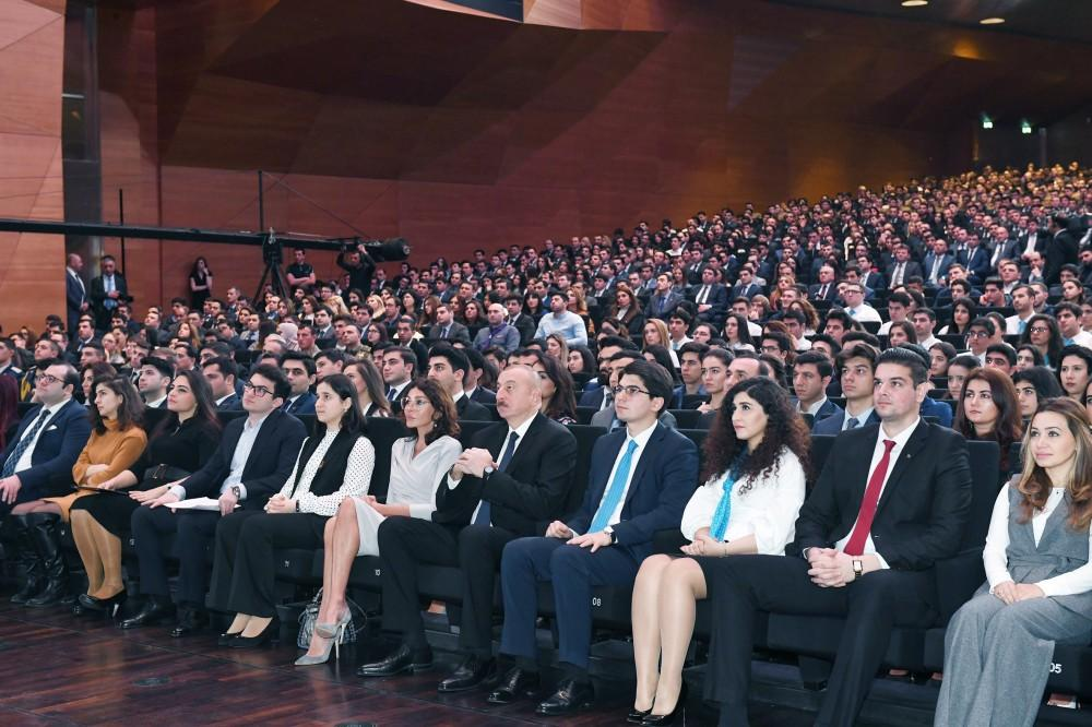 President Aliyev, first lady attend republican conference on Azerbaijani Youth Day (PHOTO)