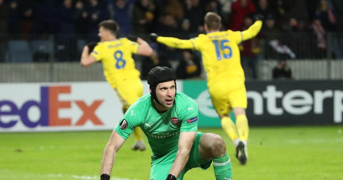 Arsenal beaten by BATE as Lacazette sent off