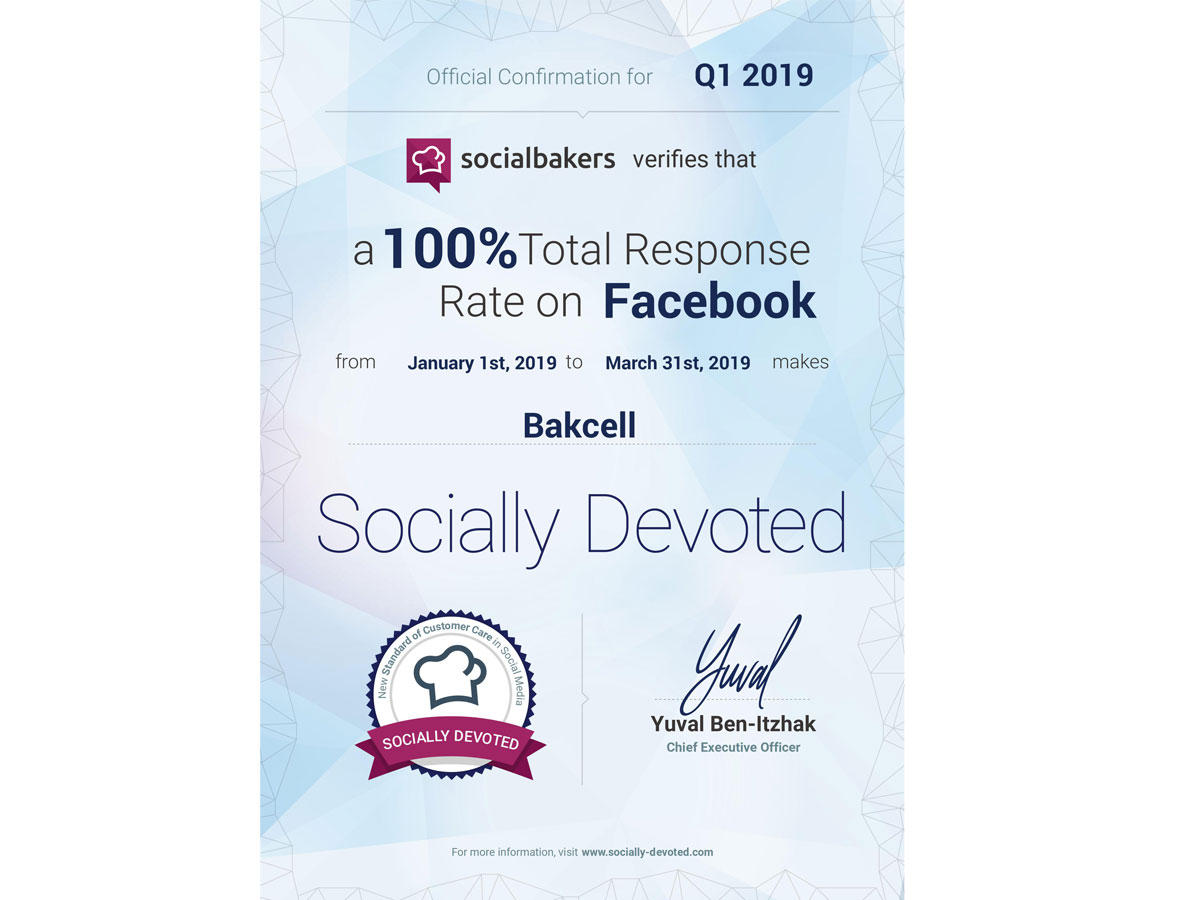 Bakcell demonstrates outstanding result in responding to inquiries on Facebook