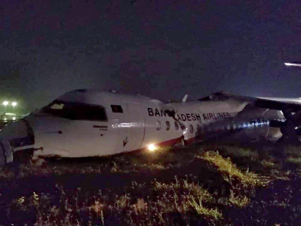 18 injured after Bangladeshi plane skids off runway at Myanmar's airport