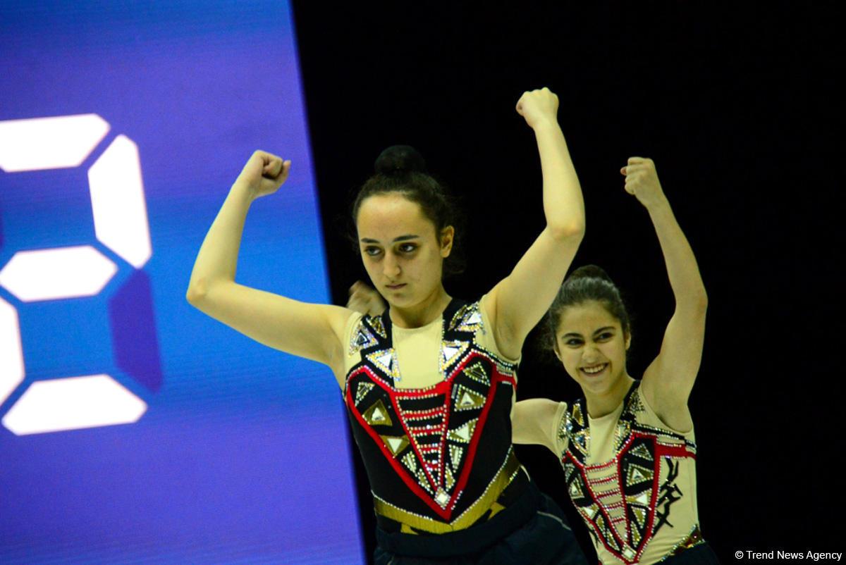 В Национальной арене гимнастики проходят подиумные тренировки участников Чемпионата Европы по аэробной гимнастике в Баку (ФОТОРЕПОРТАЖ) - Gallery Image