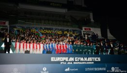 Awarding ceremony of winners of European Aerobic Gymnastics Championships in team competition among senior gymnasts held in Baku (PHOTO) - Gallery Thumbnail