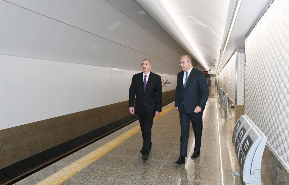 President Ilham Aliyev views work done at Khatai station of Baku Metro (PHOTO) - Gallery Image