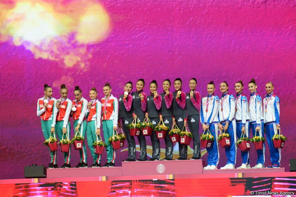 Awarding ceremony held for winners of group exercises at 37th Rhythmic Gymnastics World Championships in Baku (PHOTO) - Gallery Image