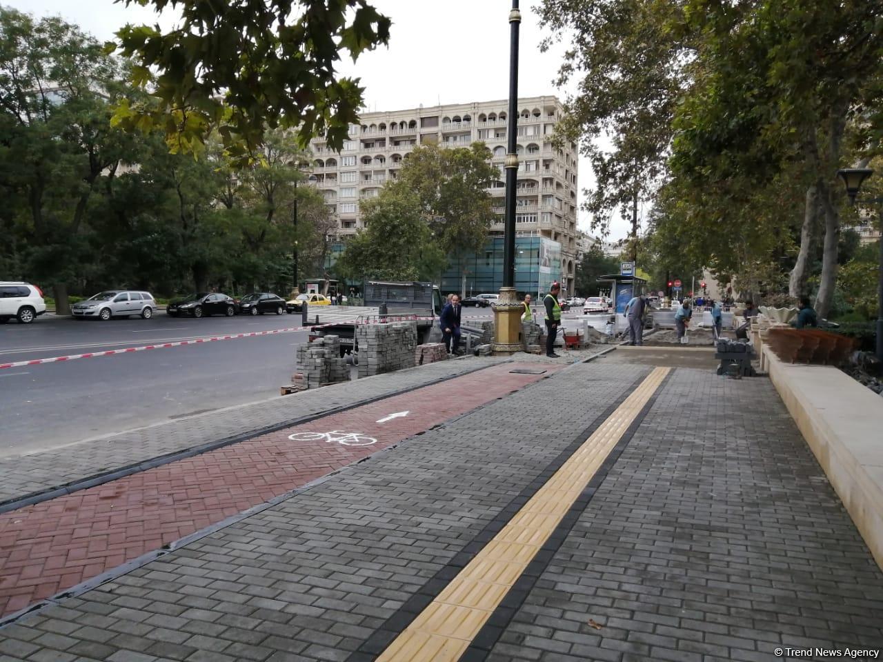 В Баку начались работы по созданию семикилометровой велосипедной дорожки (ФОТО) - Gallery Image