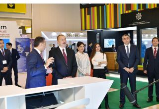 Azerbaijani president with first lady view Bakutel 2019 exhibition (PHOTO)