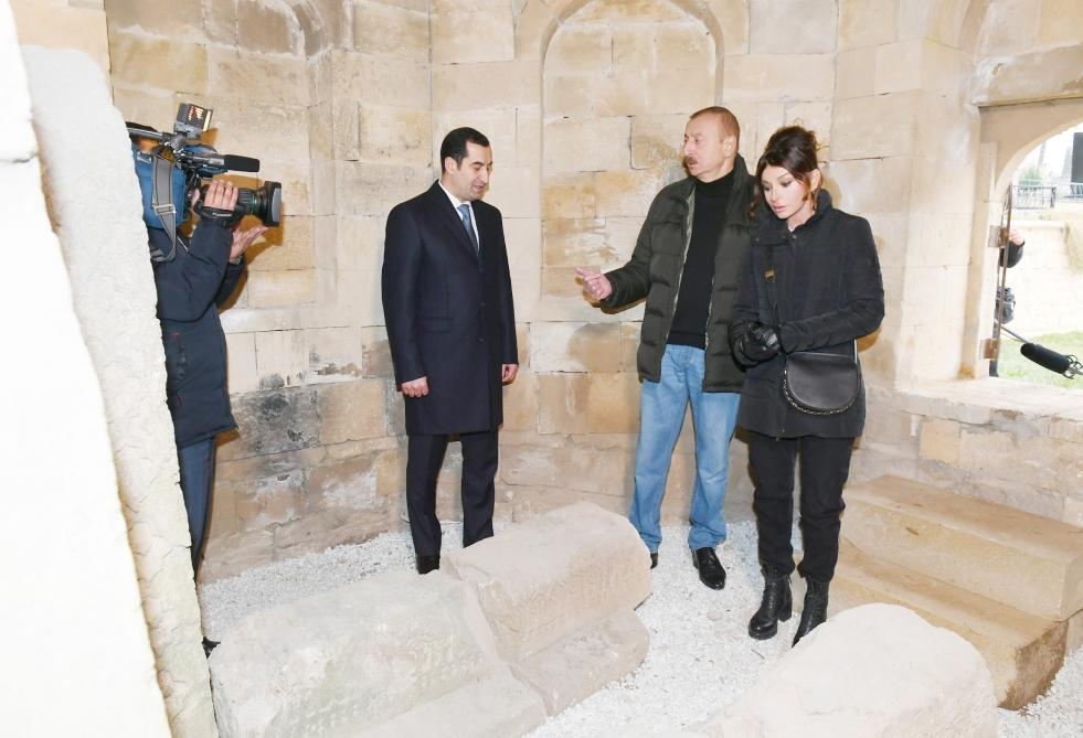 Azerbaijani president, first lady view landscaping work done around Shahkhandan tomb in Shamakhi (PHOTO) - Gallery Image