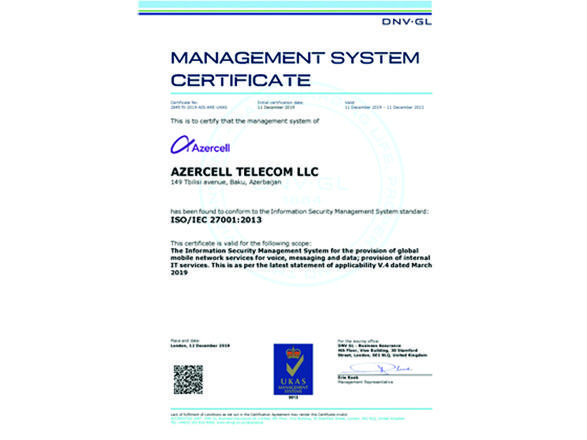 Azercell becomes first mobile operator in Azerbaijan to receive ISO/IEC 27001 certification for information security management