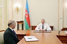 President Ilham Aliyev receives Vugar Ahmadov on his appointment as chairman of Azerishig Open Joint Stock Company (PHOTO) - Gallery Thumbnail