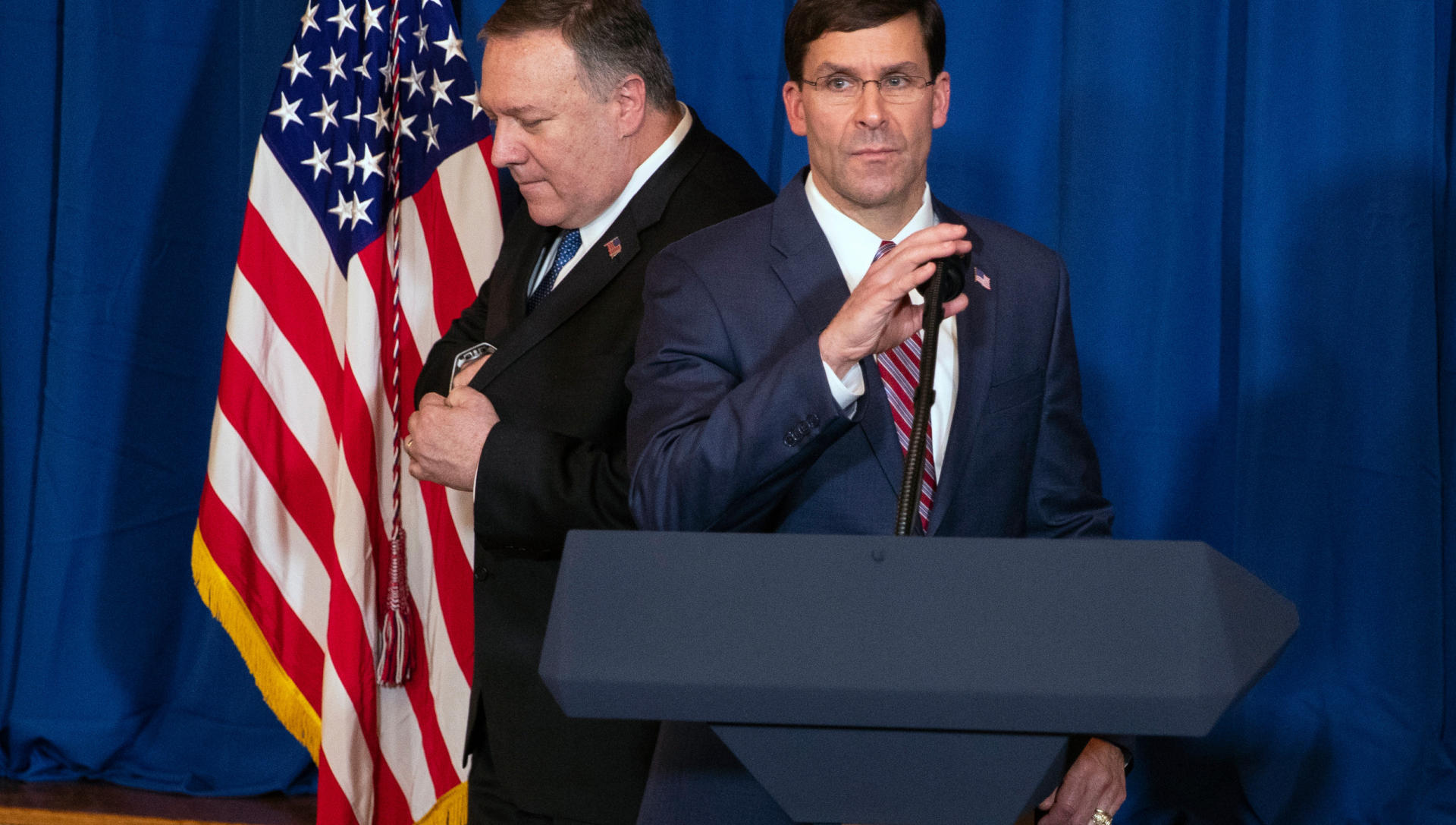 Pompeo, Esper arrive at White House after Iran attack on Iraqi base