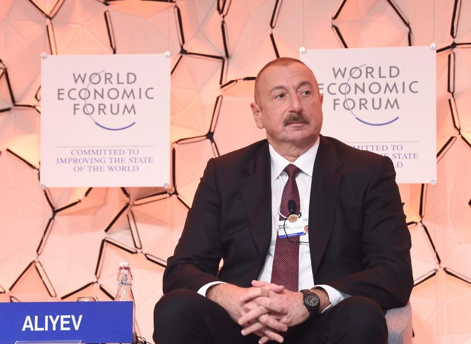 "Azerbaijani president attends panel discussion on ""Strategic Outlook: Eurasia"" held as part of WEF (PHOTO) - Gallery Image"