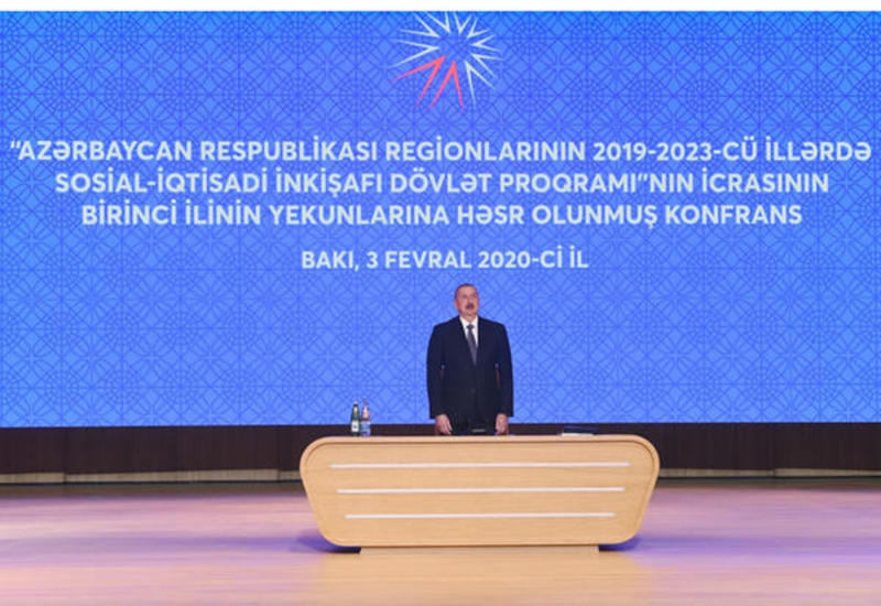 President Aliyev attends conference on results of first year implementation of State Program on socio-economic development of regions in 2019-2023 (PHOTO)