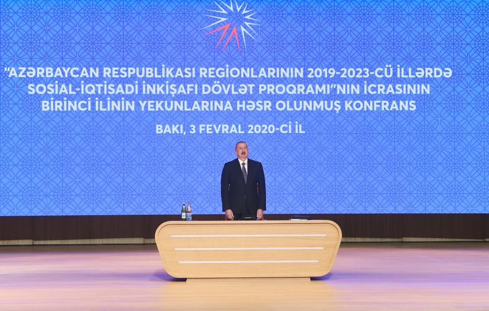 President Aliyev attends conference on results of first year implementation of State Program on socio-economic development of regions in 2019-2023 (PHOTO) - Gallery Image