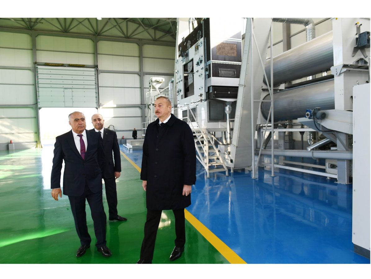 President Ilham Aliyev attends presentation of agropark owned by Global Agro LLC in Kurdamir