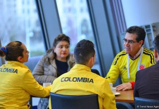 Colombian Ambassador meets athletes within FIG World Cup in Trampoline Gymnastics and Tumbling (PHOTO)