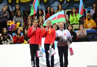 Awarding ceremony for winners of individual program at FIG World Cup in Trampoline Gymnastics & Tumbling held in Baku (PHOTO)