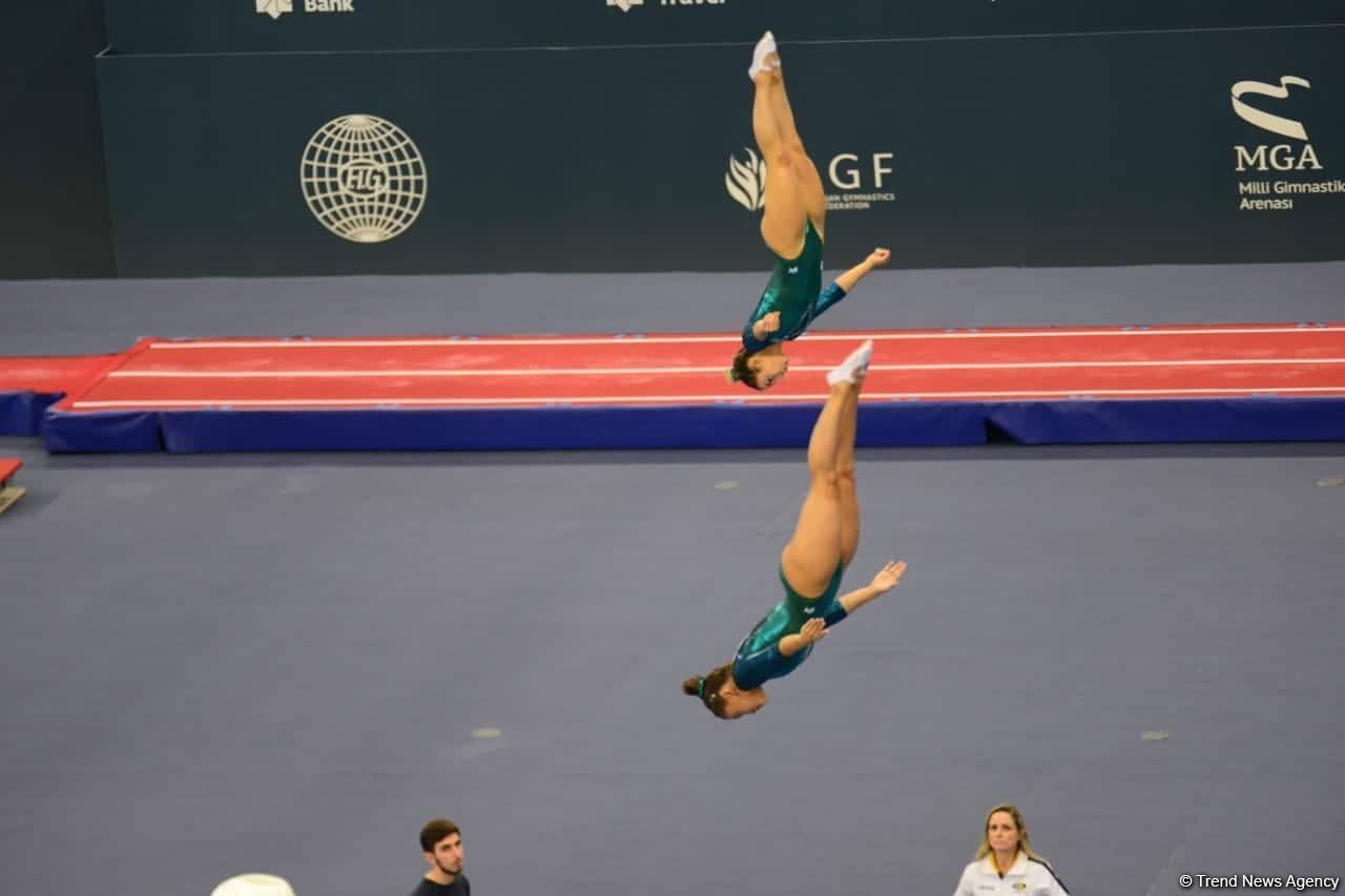Russian gymnasts rank first in synchronized trampoline program at FIG World Cup in Baku