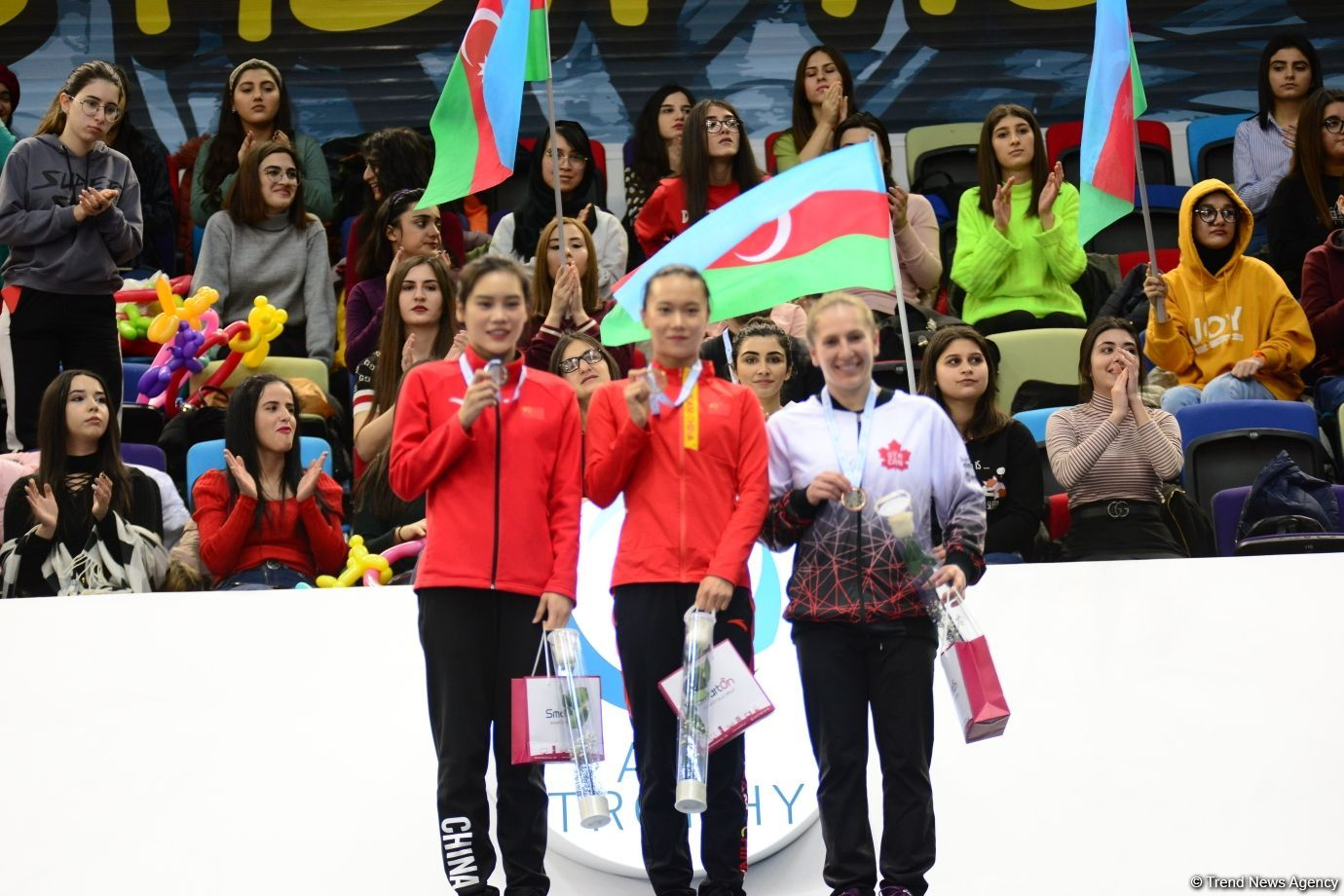 Awarding ceremony for winners of individual program at FIG World Cup in Trampoline Gymnastics & Tumbling held in Baku (PHOTO) - Gallery Image