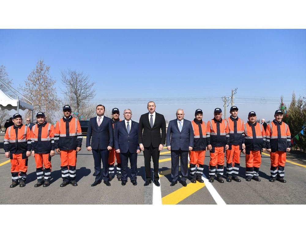 Azerbaijani president attends opening of newly reconstructed highway in Tovuz (PHOTO)