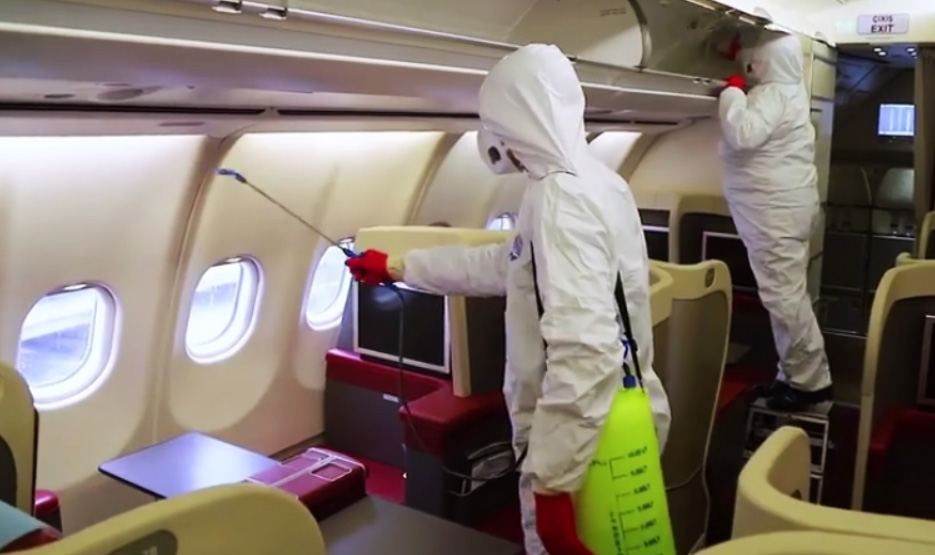 Azerbaijan Airlines carrying out disinfection due to COVID-19 threat (VIDEO)
