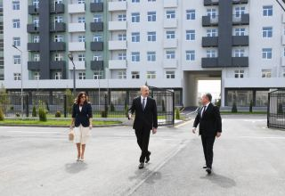 Azerbaijani president, first lady attend opening of Hovsan residential complex (PHOTO)