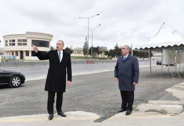 Azerbaijani president attends inauguration of pedestrian crossing at intersection of Moscow Avenue and 20 January Street (PHOTO)