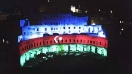 Mercati di Traiano monumental complex of Ancient Rome lit with colors of Azerbaijani flag (PHOTO) - Gallery Thumbnail