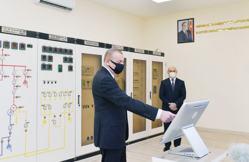 """Azerbaijani president attends ceremony to launch newly renovated """"Aghjabadi-2"""" power substation (PHOTO/VIDEO) - Gallery Image"""