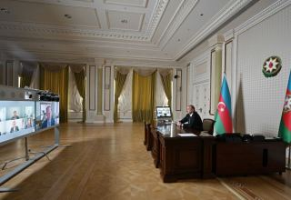 Video conference between President Ilham Aliyev, vice-president and other representatives of Microsoft held