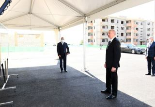 Azerbaijani president views construction of residential block built for IDPs in Samukh district (PHOTO)