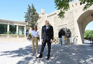 Azerbaijani president, first lady view restoration and conservation work carried out in part of Icherisheher (PHOTO/VIDEO)