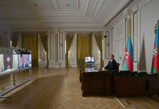 Azerbaijani, Afghan, Turkmen presidents meet through videoconferencing (PHOTO)