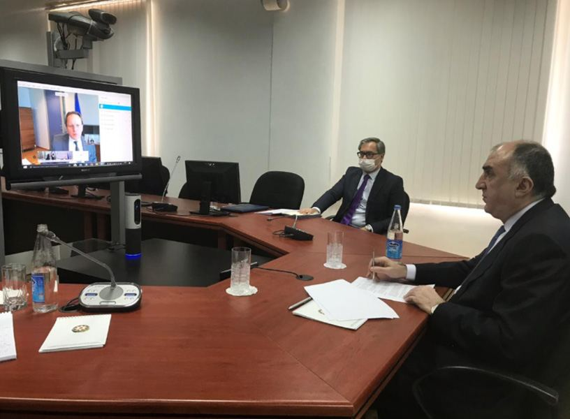 Azerbaijani FM, EU commissioner hold meeting in videoconference format (PHOTO) - Gallery Image