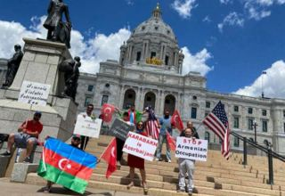 Azerbaijanis hold protest against Armenian military provocation in Minnesota (PHOTO)