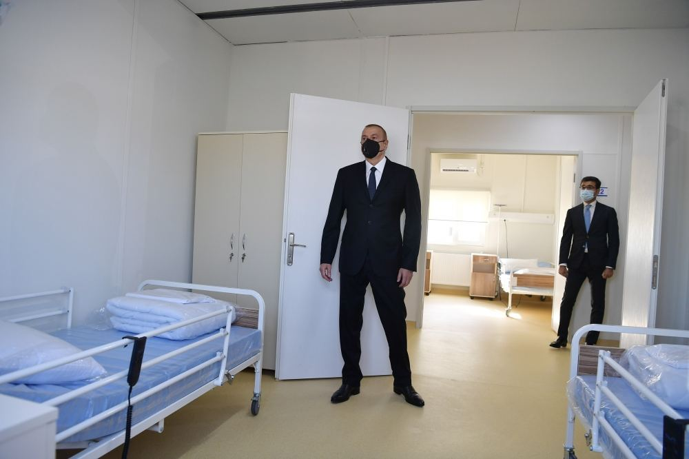 Azerbaijani president attends inauguration of modular hospital for treatment of coronavirus patients in Azerbaijan's Gobustan (PHOTO)