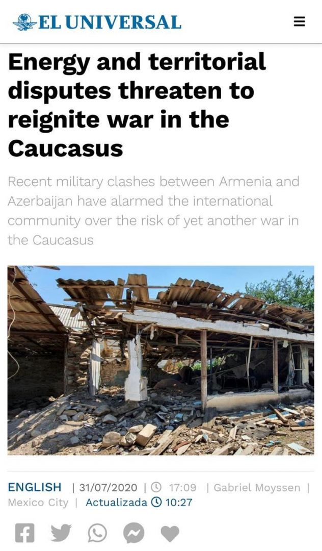 Mexico's El Universal publishes article about Armenia's recent military provocation against Azerbaijan - Gallery Image