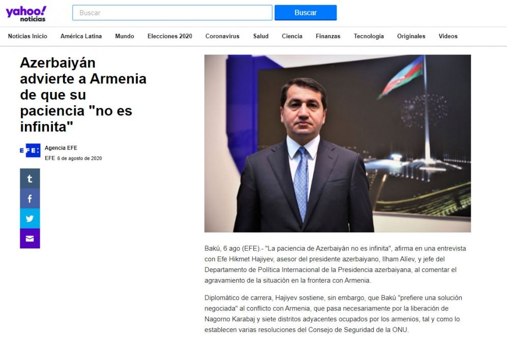 Spanish La Vanguardia: Armenia must realize that Azerbaijan's patience is not endless (PHOTO) - Gallery Image