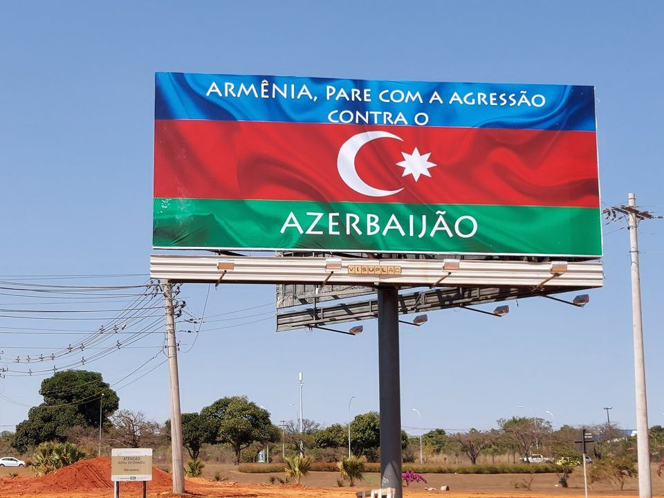 Billboard Informing About Armenia S Aggression Against Azerbaijan Placed In Brazil Photo