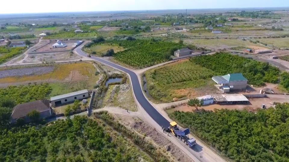 Reconstruction of highway connecting 3 villages under completion in Azerbaijan (PHOTO)