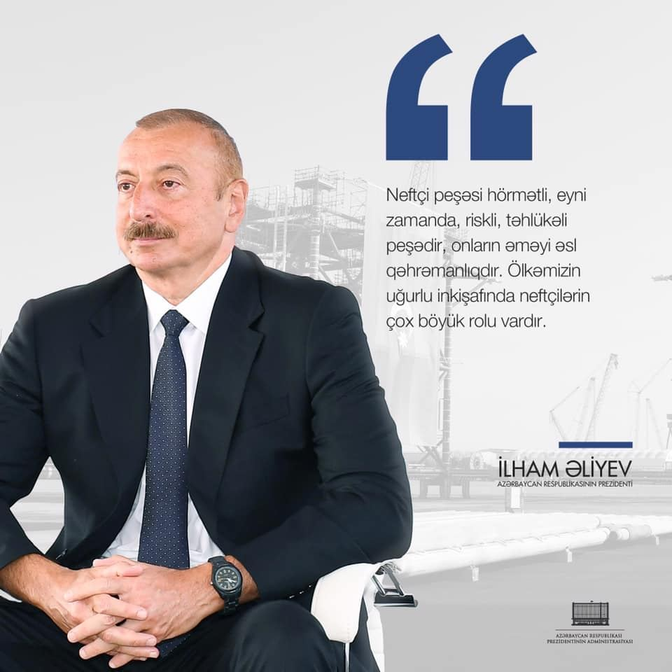 President Ilham Aliyev makes Facebook post on Oil Workers Day (PHOTO) - Gallery Image